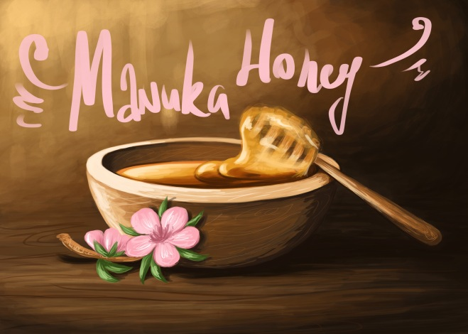digital illustration of a wooden bowl of manuka honey